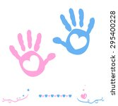 twin baby girl and boy hand... | Shutterstock .eps vector #295400228