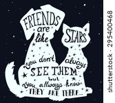 cat and dog friends grungy card ... | Shutterstock .eps vector #295400468