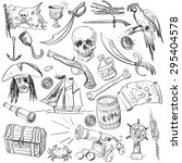 hand drawn pirates pattern ... | Shutterstock .eps vector #295404578