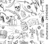 hand drawn pirates pattern ... | Shutterstock .eps vector #295404608