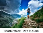 lonely woman hiker in a... | Shutterstock . vector #295416008