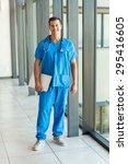 full length portrait of nurse... | Shutterstock . vector #295416605