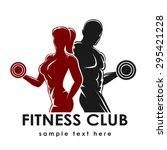 fitness club logo or emblem... | Shutterstock .eps vector #295421228
