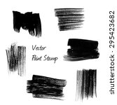 set of black watercolor vector... | Shutterstock .eps vector #295423682
