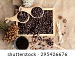 roasted coffee beans with hot... | Shutterstock . vector #295426676