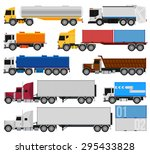 trucks and trailers on a white... | Shutterstock .eps vector #295433828