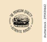 vector vintage fast food logo.... | Shutterstock .eps vector #295434662