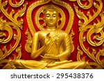 Golden Buddha Sits In The Temple