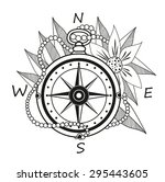 vintage compass with flowers...   Shutterstock .eps vector #295443605