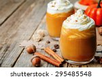 ice honey pumpkin spice latte... | Shutterstock . vector #295485548