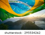 brazilian flag shines above the ... | Shutterstock . vector #295534262