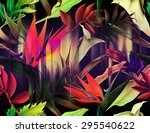seamless tropical flower  plant ... | Shutterstock . vector #295540622