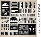 vintage burger menu  | Shutterstock .eps vector #295560362