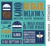 vintage burger menu  | Shutterstock .eps vector #295560365