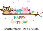 happy owl family celebrate... | Shutterstock .eps vector #295572086