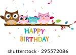 happy owl family celebrate... | Shutterstock .eps vector #295572086