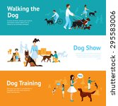 Stock vector people with dogs banner set with walking and training elements isolated vector illustration 295583006