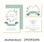 wedding design template. floral ... | Shutterstock .eps vector #295592696