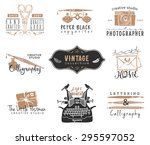 hand drawn old stationery logo... | Shutterstock .eps vector #295597052