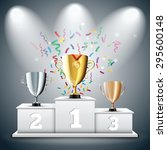 gold  silver and bronze trophy... | Shutterstock .eps vector #295600148