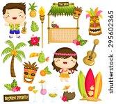 hawaii luau kids vector set | Shutterstock .eps vector #295602365