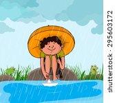 Cute Little Boy With Umbrella ...