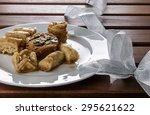 assorted arabic sweets with... | Shutterstock . vector #295621622
