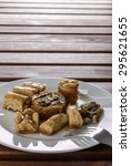 assorted arabic sweets vertical ... | Shutterstock . vector #295621655