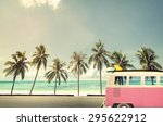 vintage car in the beach with a ... | Shutterstock . vector #295622912