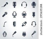 vector black microphone icon... | Shutterstock .eps vector #295635188