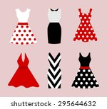 set of 6 retro pinup cute woman ... | Shutterstock .eps vector #295644632