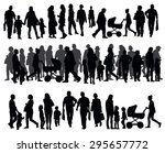 silhouettes of people walking...   Shutterstock .eps vector #295657772