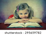 beautiful blond girl with open... | Shutterstock . vector #295659782