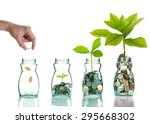hand putting mix coins and seed ... | Shutterstock . vector #295668302