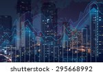 trading graph on the cityscape... | Shutterstock . vector #295668992