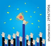 businessman long hand grab... | Shutterstock .eps vector #295673906