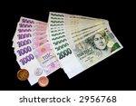 czech money  bills and coins on ... | Shutterstock . vector #2956768