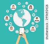 mobile connection social media... | Shutterstock .eps vector #295692416