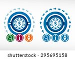 casino gambling chips icon and... | Shutterstock .eps vector #295695158