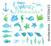 vector set of watercolor marine ... | Shutterstock .eps vector #295700615
