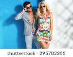 young fashionable couple on... | Shutterstock . vector #295702355
