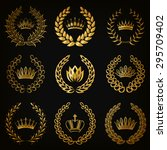 set of luxury gold labels ... | Shutterstock .eps vector #295709402