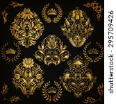 set of gold damask ornaments.... | Shutterstock .eps vector #295709426