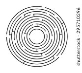 circular maze black on a white...
