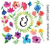 vector watercolor flowers with...   Shutterstock .eps vector #295718492