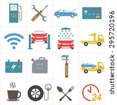 car service icon set in flat... | Shutterstock .eps vector #295720196