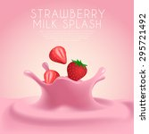 strawberry flavored milk label... | Shutterstock .eps vector #295721492