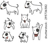 vector set of dog  bull terrier | Shutterstock .eps vector #295736582