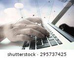 double exposure of businessman... | Shutterstock . vector #295737425