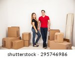 attractive young married couple ... | Shutterstock . vector #295746986